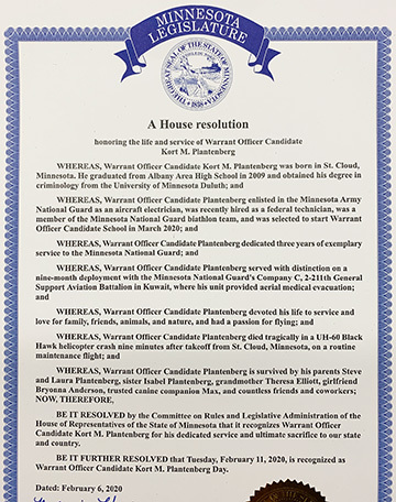 Image of House resolution honoring the late Warrant Officer Candidate Kort M. Plantenberg