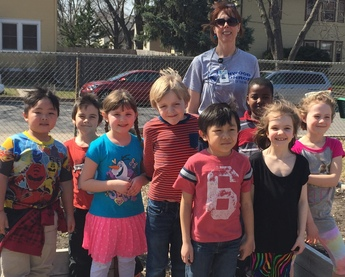 Ann Griffin with her first grade students