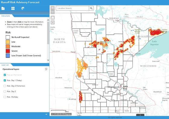 A screenshot of the Runoff Risk Advisory Forecast