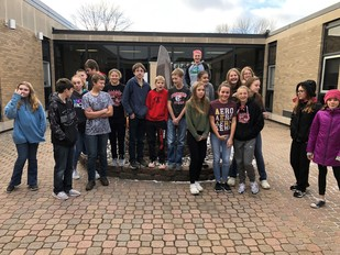 Students in the Pierz High School Courtyard