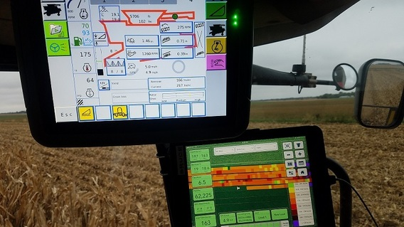 Precision Agriculture Tools in a tractor cab