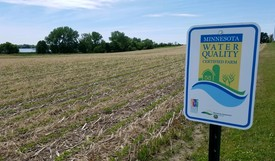 MAWQCP sign and no till beans into cereal rye cover crop