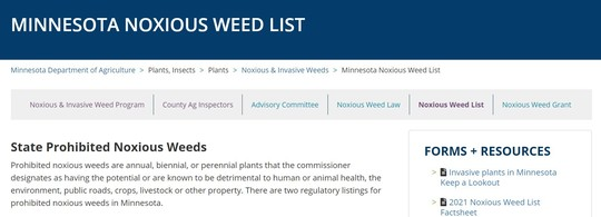 View of the MDA noxious weed list website