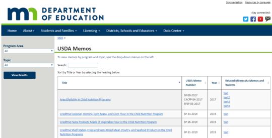 USDA Memos Page Screenshot
