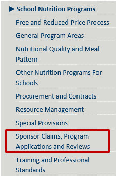 School Nutrition Sponsor to State Connection name change