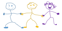 three stick figure children holding hands