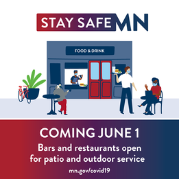 StaySafeMN Coming June 1: Bars and restaurants open for patio and outdoor services