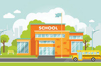 illustration of school building and bus