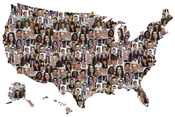 USA map of a multicultural group of young people