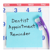 Dentist appointment reminder. toothbrush on calendar image.