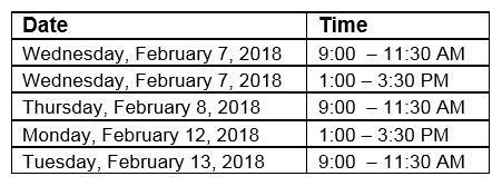 FNTS Training Dates and Times