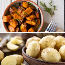 Sweet potatoes and White potatoes.