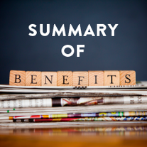"""Scrabble letter sitting on newspaper reading """"Summary of Benefits""""."""