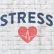 "Brick wall with a heart and heartbeat line and the word ""stress""."