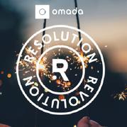 Hands holding up sparklers behind Omada Resolution Revolution logo.
