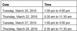 AMA Training Schedule
