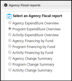 Fiscal Reports Menu; Reports by Agency, Program, and Activity