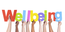 "Hands holding up letters that together spell ""Wellbeing""."