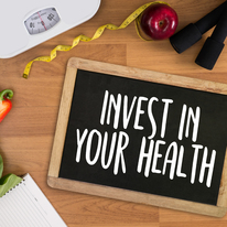 Invest in your health chalkboard