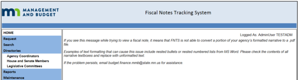 FNTS Message
