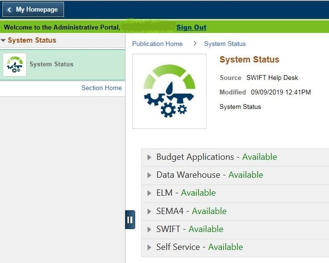 System Status by Application