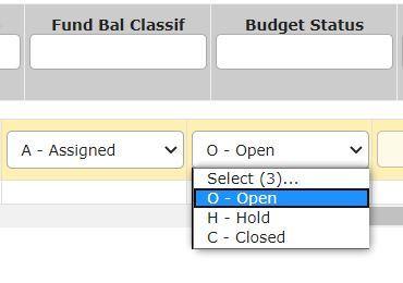 AMA Budget Status Drop-down