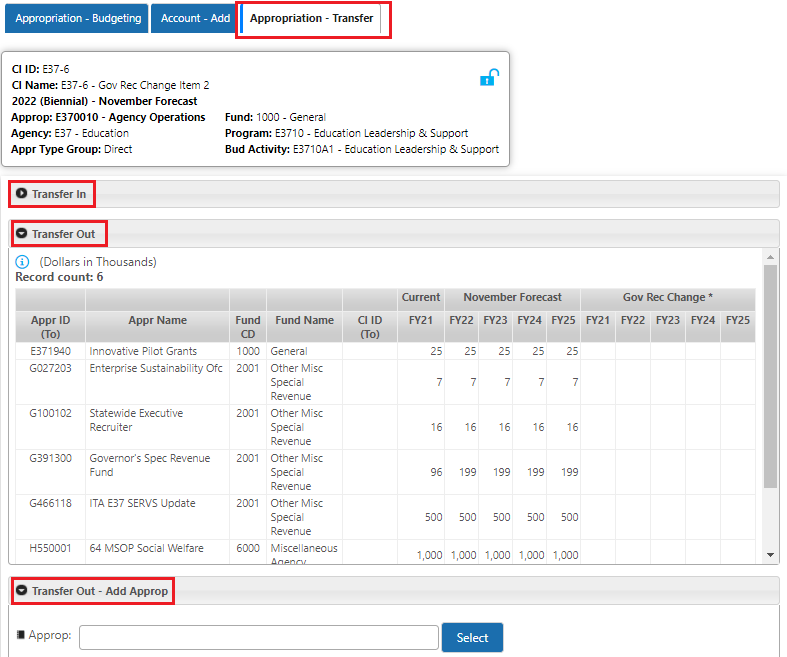 BPAS Change Item Transfer Screen