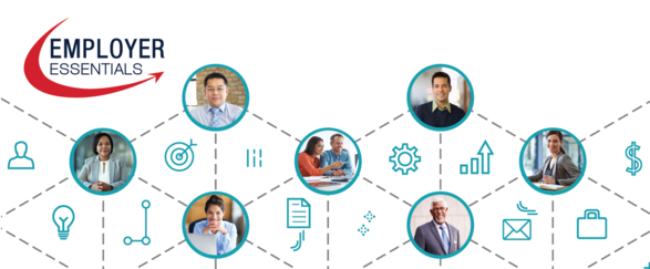 Decorative graphic of diverse business professionals with office icons