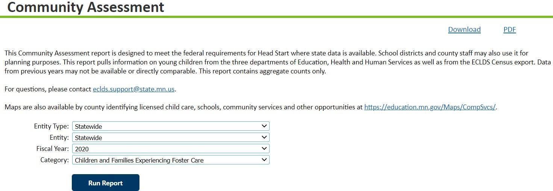 Community Assessment Report