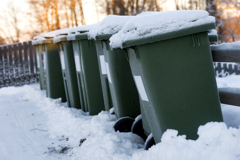 Garbage Bins In Snow