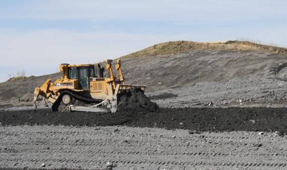 Bulldozer In Ash Cell at Kalmar Landfill