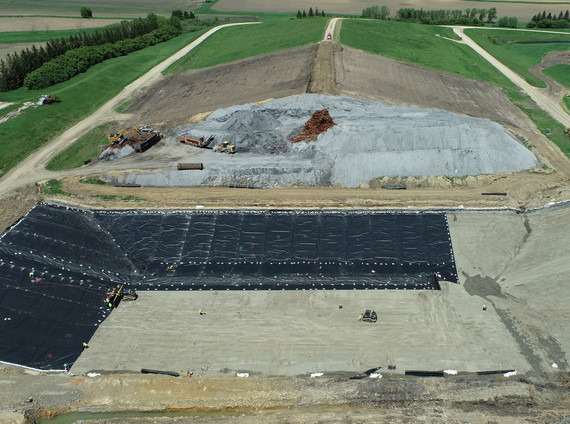 Drone image of the ash cell expansion project at the Kalmar Landfill.