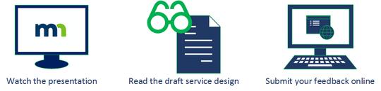 Watch presentation, read draft service design, submit feedback online