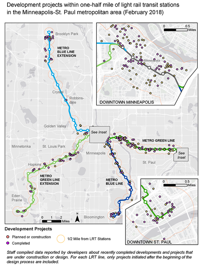 Development projects within one-half mile of light rail transit stations in the Minneapolis-St. Paul metropolitan area