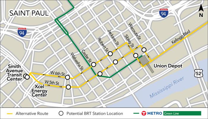 route through downtown alt