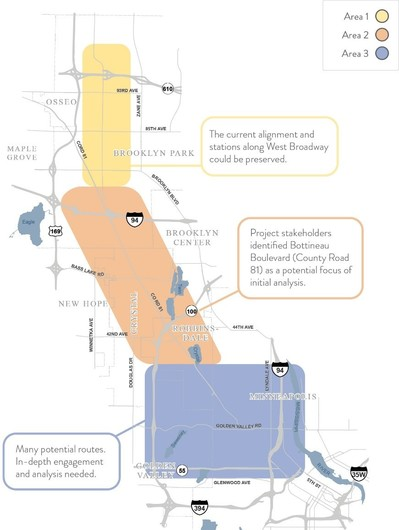 Map of study areas for new Blueline Extension Alignment