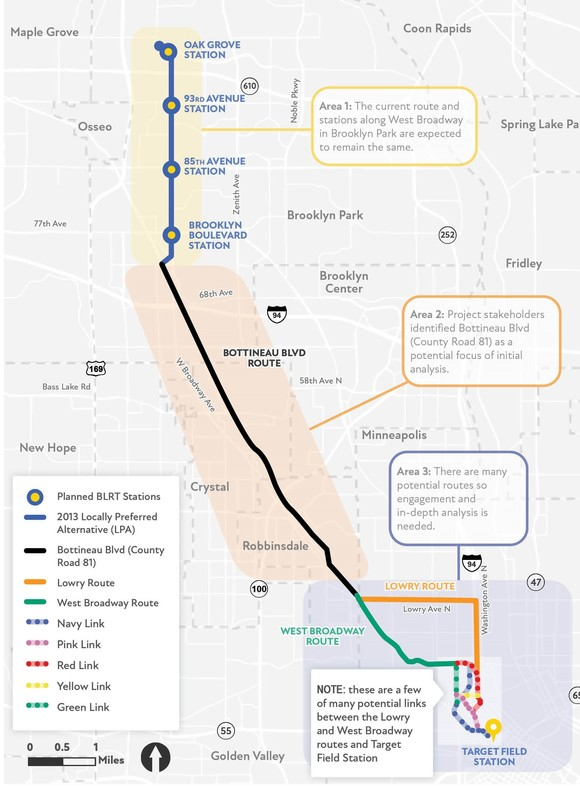 Map of potential revised route options