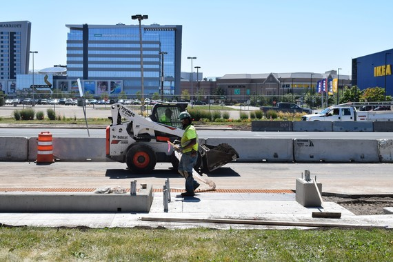 A station being constructed at the intersection of American and Thunderbird in Bloomington. Mall of America in the background