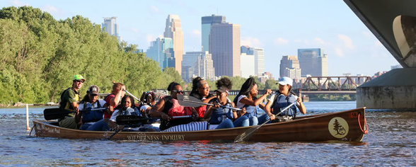 Wilderness Inquiry canoe on the Mississippi River.