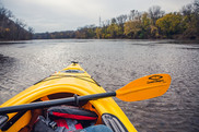 First-person view from a Paddle Share kayak on the Mississippi River.