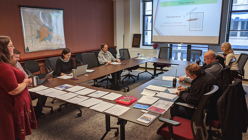 Smart salting training session in downtown Minneapolis.