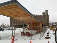 New pavilion under construction at Towerside Park.