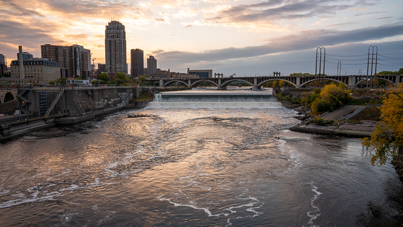 View of St. Anthony Falls at sunset.