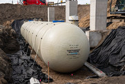 A 40,000-gallon cistern being installed at the Metro Transit bus garage.