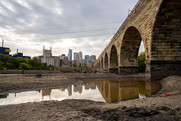 The Stone Arch Bridge as seen during a drawdown of the Mississippi River in Minneapolis.