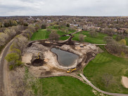 An aerial view of the Columbia Golf Course northeast wet pond.