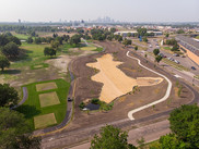 Aerial view of golf course infiltration basin.