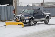 A snow plow truck.
