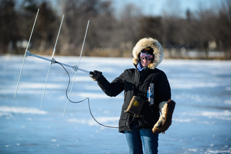 telemetry device used to track carp locations on Lake Nokomis