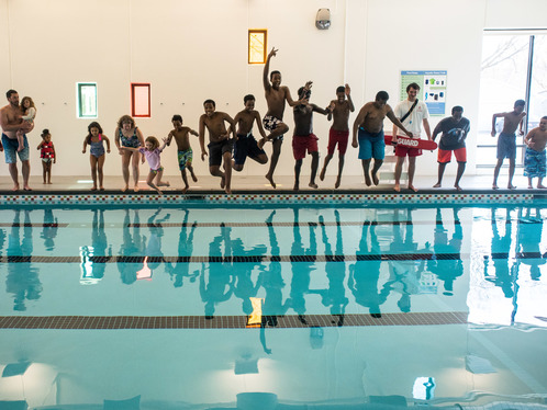 Phillips Aquatics Center - community splash on opening day April 21, 2018
